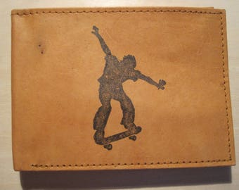"Mankind Wallets Men's Leather RFID Blocking Billfold w/ ""Skateboarding"" Image~Makes a Great Gift!"