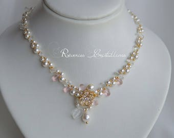 Necklace pearls, crystals, transparent pink necklace - bridal necklace, glamourous pearly necklace and rock crystal