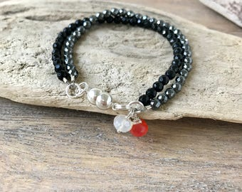 Faceted Black Onyx and Hematite Dainty Silver Bracelet,Beaded Bracelet,Delicate Bracelet, Gemstone Bracelet ,Stocking Stuffer,Gifts for mom