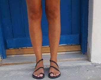 Black Greek sandals, Grecian Sandals,Slip on Sandals,Summer Flats, Leather Sandals, Roman Sandals, Women's Sandals, Leather flats,