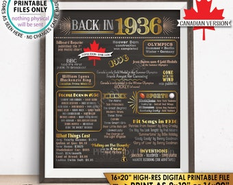 "Flashback to 1936 in CANADA Back in 1936 Birthday Sign, 1936 Flashback Poster, Birthday, Golden, Chalkboard Style PRINTABLE 16x20"" Sign <ID>"