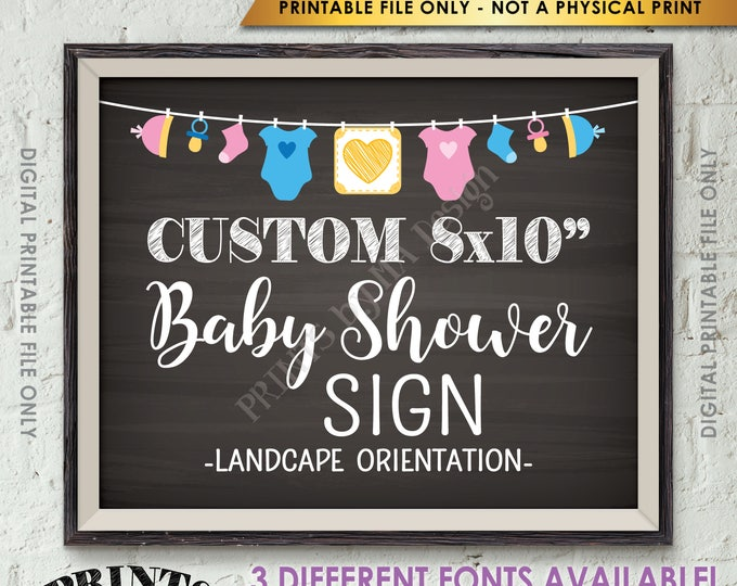 """Custom Baby Shower Sign, Choose Your Text, Baby Shower Decor, Choose the Clothesline Design, Chalkboard Style Printable 8x10"""" Landscape Sign"""