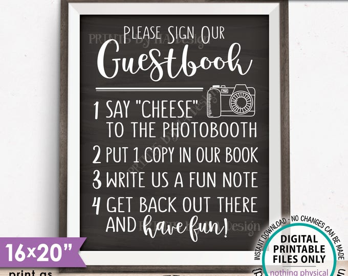 """Guestbook Photobooth Sign Add photo to the Guest Book Sign Photo Booth, Chalkboard Style PRINTABLE 8x10/16x20"""" Instant Download Wedding Sign"""