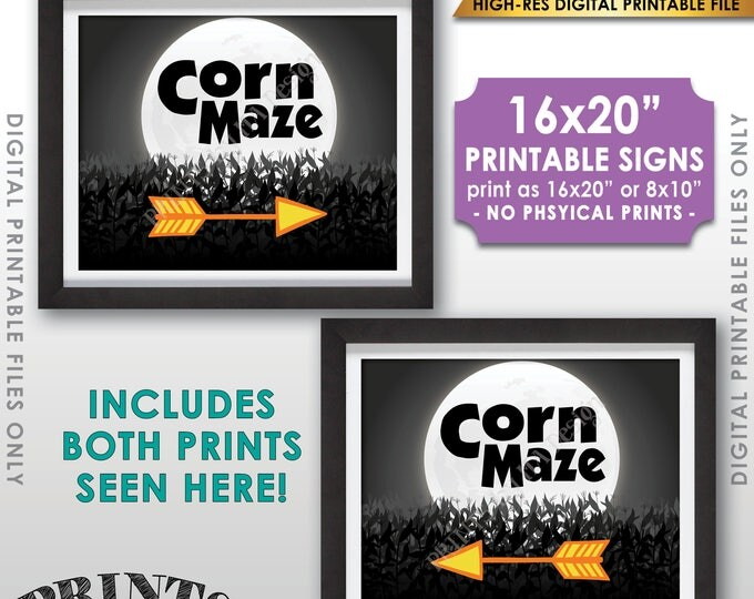"Corn Maze Directions Signs, Point to the Corn Maze Arrows, This way to the Corn Maze, PRINTABLE 8x10/16x20"" Instant Download Corn Maze Signs"