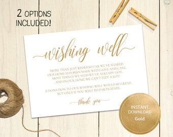 Editable PDF Gold 3,5x5 Wishing Well Card Lieu of gifts Wedding Wishing Well Wedding Insert Calligraphy Cards Printable Digital #DP130_17