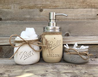 Bathroom Decor, Mason Jar Bathroom, Bathroom, Bathroom Set, Farmhouse Bathroom, Bathroom Decorations, Bathroom Organization, Mason Jars
