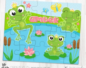 SALES Frog princess personalized puzzle, 20 pieces puzzle, name puzzle, Personalized name puzzle, Kids Personalized Gift - PU168