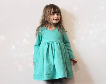 Reversible Dress, Long sleeves, Linen, Cotton, Cutout back, Snaps, Gathered, Toddler, Girl shower gift idea, Vintage inspired, Princess girl