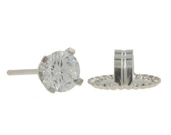 Super Sale Ladies Mens 14K White Gold Round Diamond Solitaire Single Stud Earring - 0.50CT