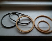 Lot of Five Embroidery Hoops; Vintage Embroidery Hoops; Old Metal Hoops; Vintage Hoops; Vintage Craft Supplies; Ready to Ship