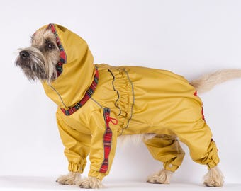 Dog raincoat, yellow dog coat, waterproof, pet supplies, dog clothing,dog coat for boy,dog coat for girl,pet clothing,snood, medium dog coat