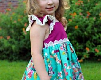 Girls Boho Dress dress- Toddler Girls Boho Dress- Fall Dress- Fall Floral Dress- Bohemian Style- 6/12m, 12/18m, 18/24m, 2t, 3t, 4t, 5,6,7,8