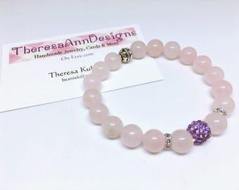Gemstone Bracelet, Rose Quartz Bracelet, Pink Bracelet, Stretch Bracelet, Stack Bead Bracelet, Gift for Her