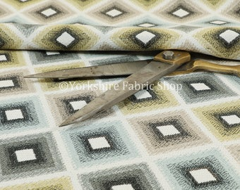 New Modern Woven Geometric Cube Pattern Yellow Grey Designer Upholstery Fabrics - Sold By The 10 Metre Fabrics