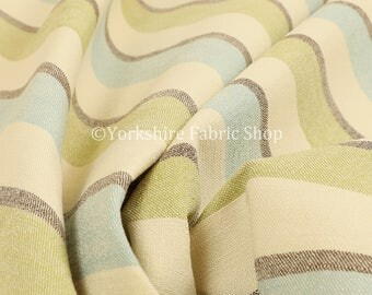 Quality Scottish Striped Pattern Chenille Blue Green Curtain Furnishing Upholstery Fabric - Sold By The 1 Metres Fabric