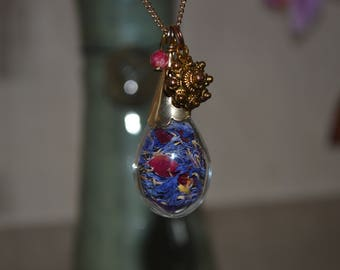Cornflower and roses glass pendant.