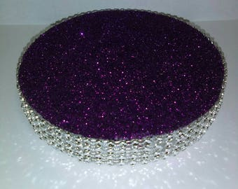 """Set of 5 Centerpiece Bases (5"""") - Purple & Silver Bling - Wedding Quinceanera Candy Buffet"""