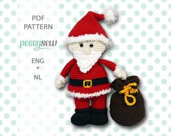 Mr. Santa Claus with bag, amigurumi crochet pattern, PDF ENG