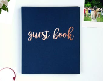 """Instax Guest Book Polaroid Guestbook Instax Photo Guest Book Alternative Wedding Guestbook. Navy & Rose Gold. Flat-Lay, 8.5""""x7"""", 100 pgs."""