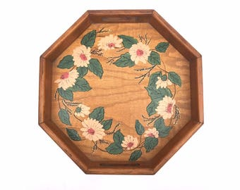 Decorative Floral Tray -- Wood Tray -- Wood Floral Tray -- Floral Wood Tray -- Vintage Tray -- Vintage Wood Tray -- Handpainted Wood Tray