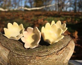 Yellow celadon flower pins