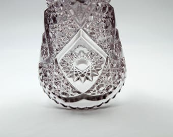 Antique Flint Glass Trumpet Vase Sun Amethyst Purple Glass EAPG Hobstar Cane Zipper Pattern