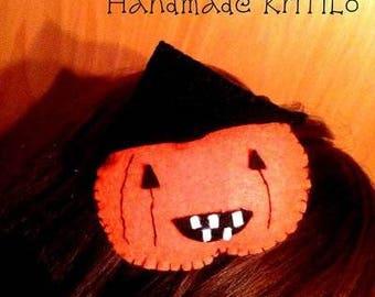 Halloween witch pumpkin Handmade felt headband KriTiLo