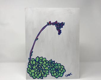 Pretty Succulent with a Tall Bloom Painting on a Wood Panel