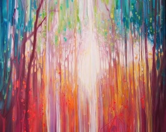 LARGE ORIGINAL Oil Painting - Revelation - a path through an autumn wood