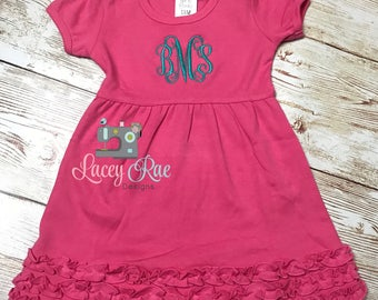 Personalized ruffle dress with monogram, Monogrammed dress with ruffle- multiple colors available