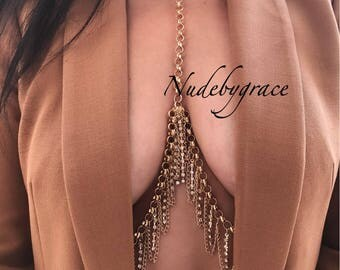 15% off, non pierced nipple crystal bralette, bralette jewelry, bikini body jewelry, crystal bralette, nipple ring body chain, body chain,