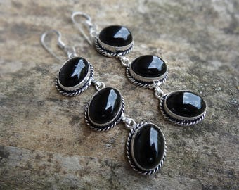 Natural Sterling Silver Black Onyx Earrings - Natural Black Onyx Stone - Handmade earrings Boho Chic Earrings - Black Onyx Earrings