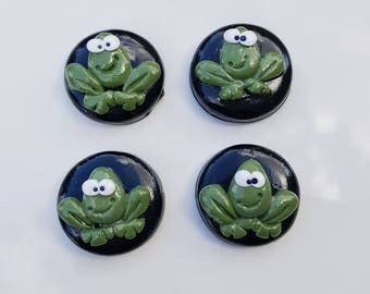 4 frog push pins, thumb tacks