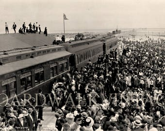 1912 Vintage Panoramic Photo Reprint First Train to arrive at Key West Florida