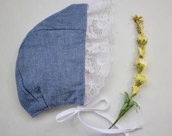 3-6 Months- Denim Chambray Delicate Lace Bonnet