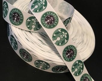 Starbucks logo grosgrain ribbon, Starbucks ribbon, Starbucks coffee ribbon, hair bow ribbon, grosgrain ribbon, hair bow DIY Coffee Ribbon