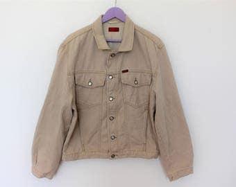 Vintage LEE Jean Jacket Beige Denim Jacket Ivory Denim Jacket Size small to Medium