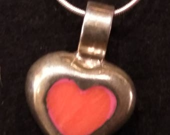 Beautiful vintage Sterling Silver necklace with Sterling Silver heart pendant, 16 inch, marked 925