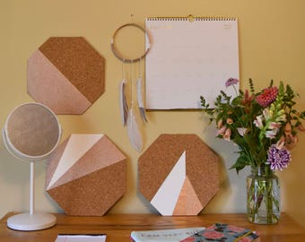 Rose Gold Corkboard Wall Tile: Half & Half