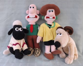 WALLACE and GROMIT, Set of 4 Soft Toys: Wallace, Gromit, Shaun the Sheep, Wendolene Ramsbottom, TV Characters, Vintage 1989 Toys