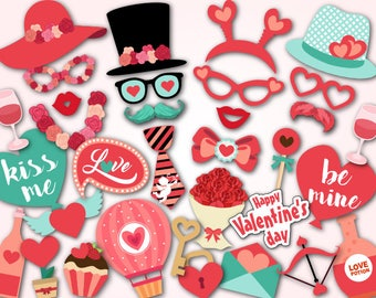 Printable Valentine's Day Photo Booth Props, Instant Download Be my Valentine Photo Booth Props, Happy Valentine's Day Party Props 0080
