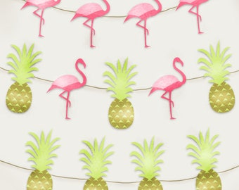 Flamingos and Pineapples Banner