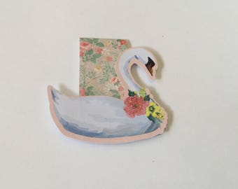 Swan magnetic bookmark, planner accessories, pink, gift idea, book lover, planner marker