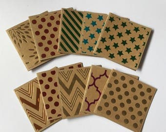 Foil Mini cards, Kraft gift cards, metallic, foil note card set, blank, gift tags, patterned cards, stationery