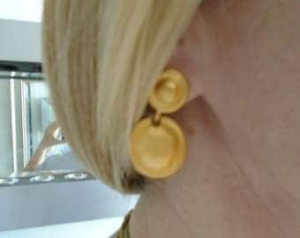 """Use Coupon 10OFF Vintage GIVENCHY Medallion Pierced Goldtone Drop Dangle Earrings Measure 1.5"""" Long. In Great Condition. Was Priced at 63.00"""