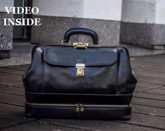 Leather Doctor Bag, doctor bag, black leather medical bag,leather bag, handbag, Briefcase,top handle bag - The Master and Margarita