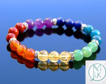 7 Chakra Natural Gemstone Bracelet 6.5-7'' Elasticated Healing Stone Chakra Reiki With Pouch FREE UK SHIPPING