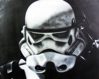 Painted with airbrush on wood plate - Stormtrooper Star Wars