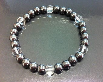 Hematite and rock crystal bracelet