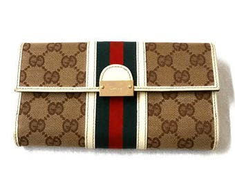 Vintage Gucci Brown with Red White and Green Wallet